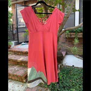 Boho Empire Dress with Mountain/Sun Appliqué